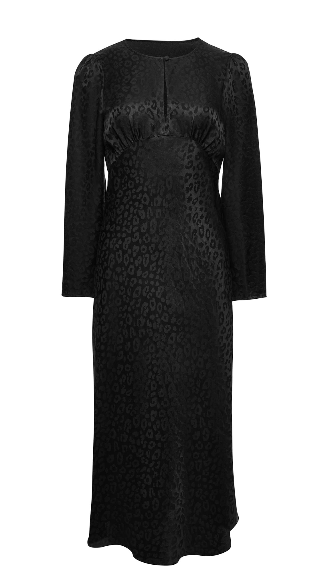 Jedwabna sukienka midi z rękawem