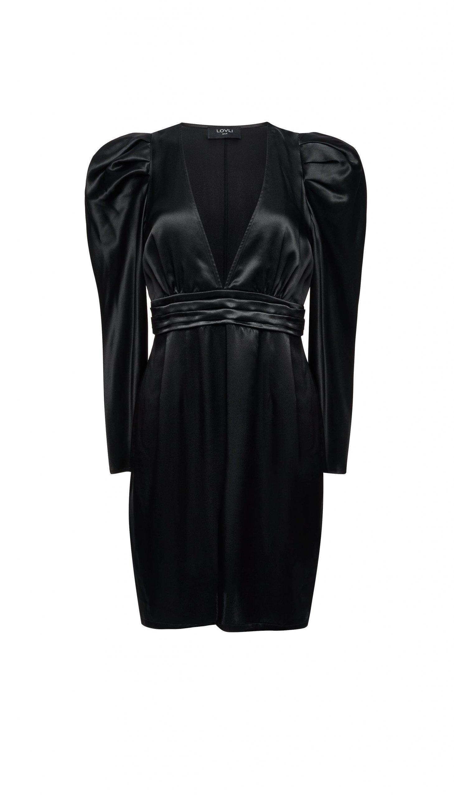 Jedwabna sukienka mini z rękawem