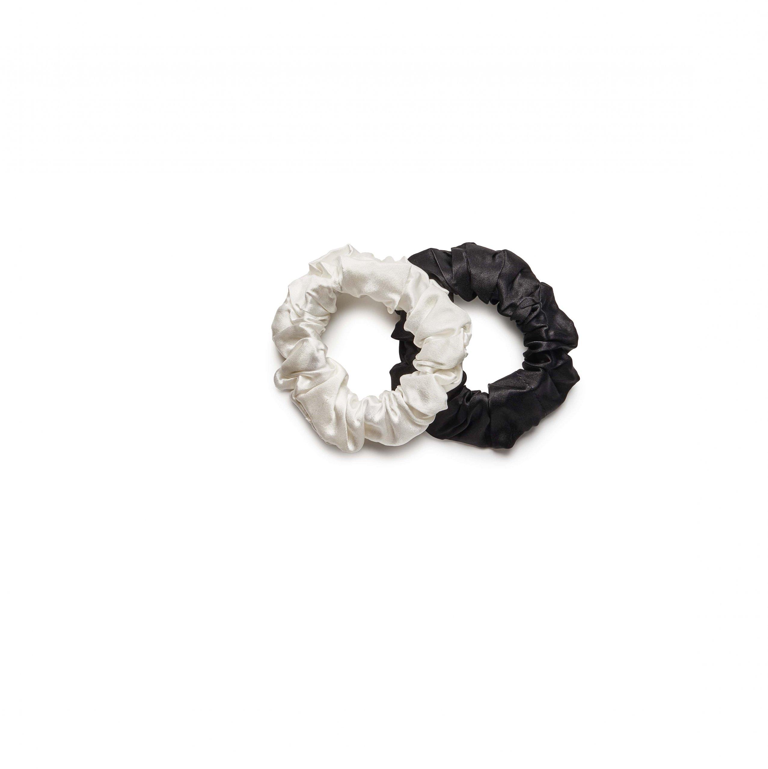 Jedwabny zestaw gumek do włosów black & ecru