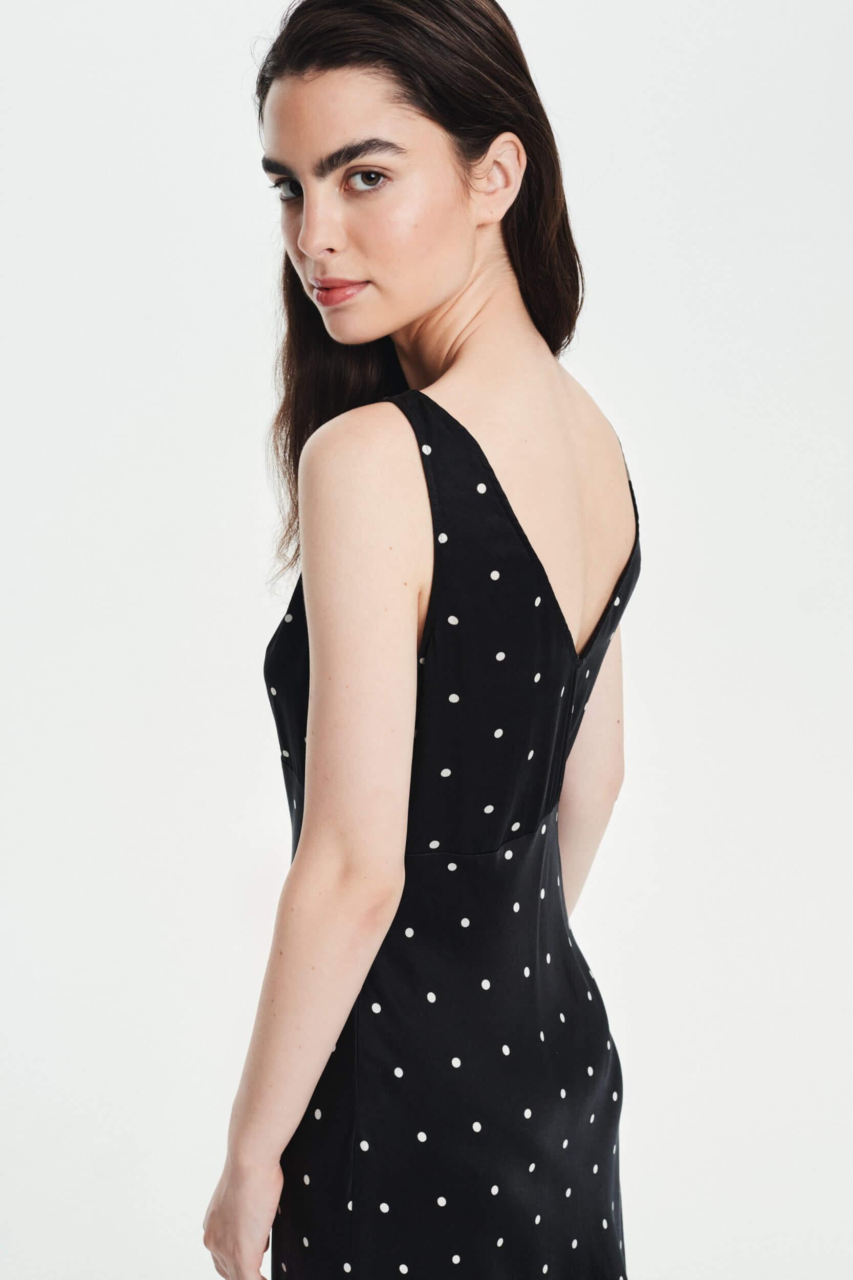 Jedwabna sukienka polka dot