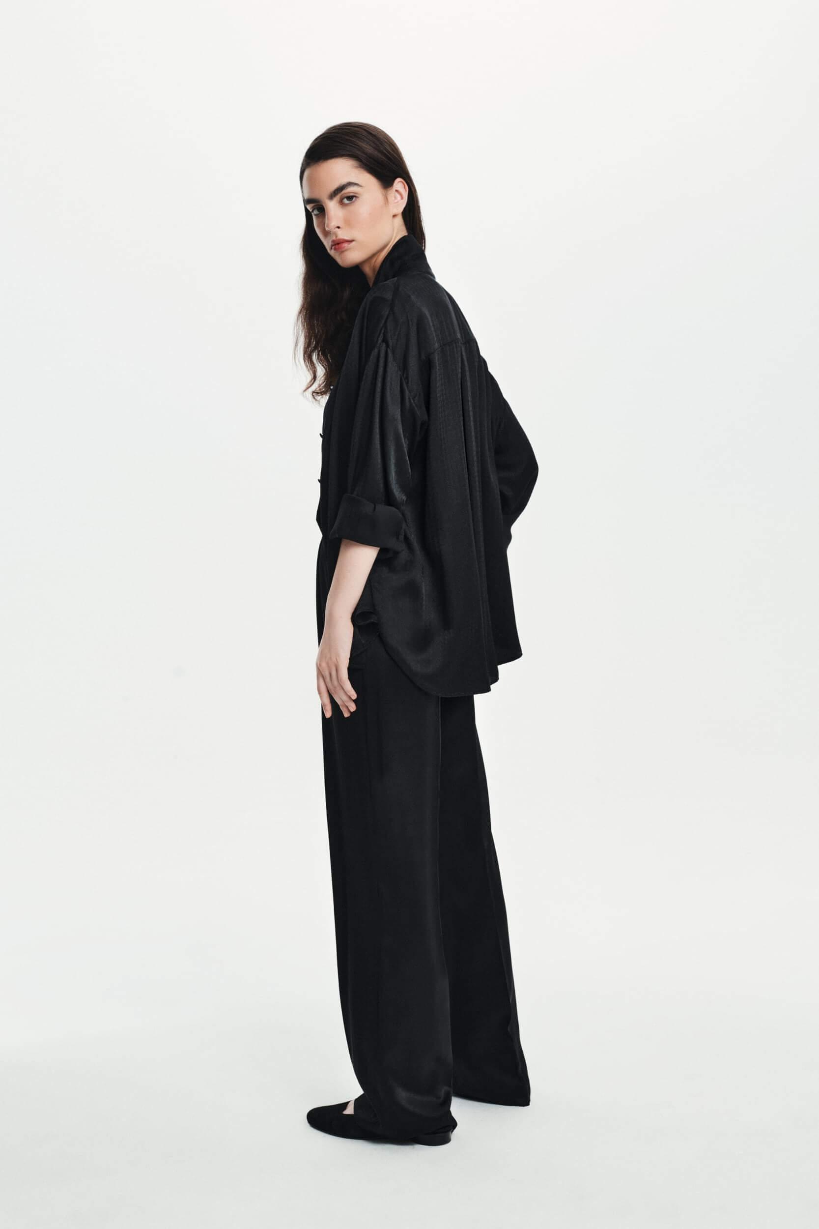 Jedwabna koszula czarna