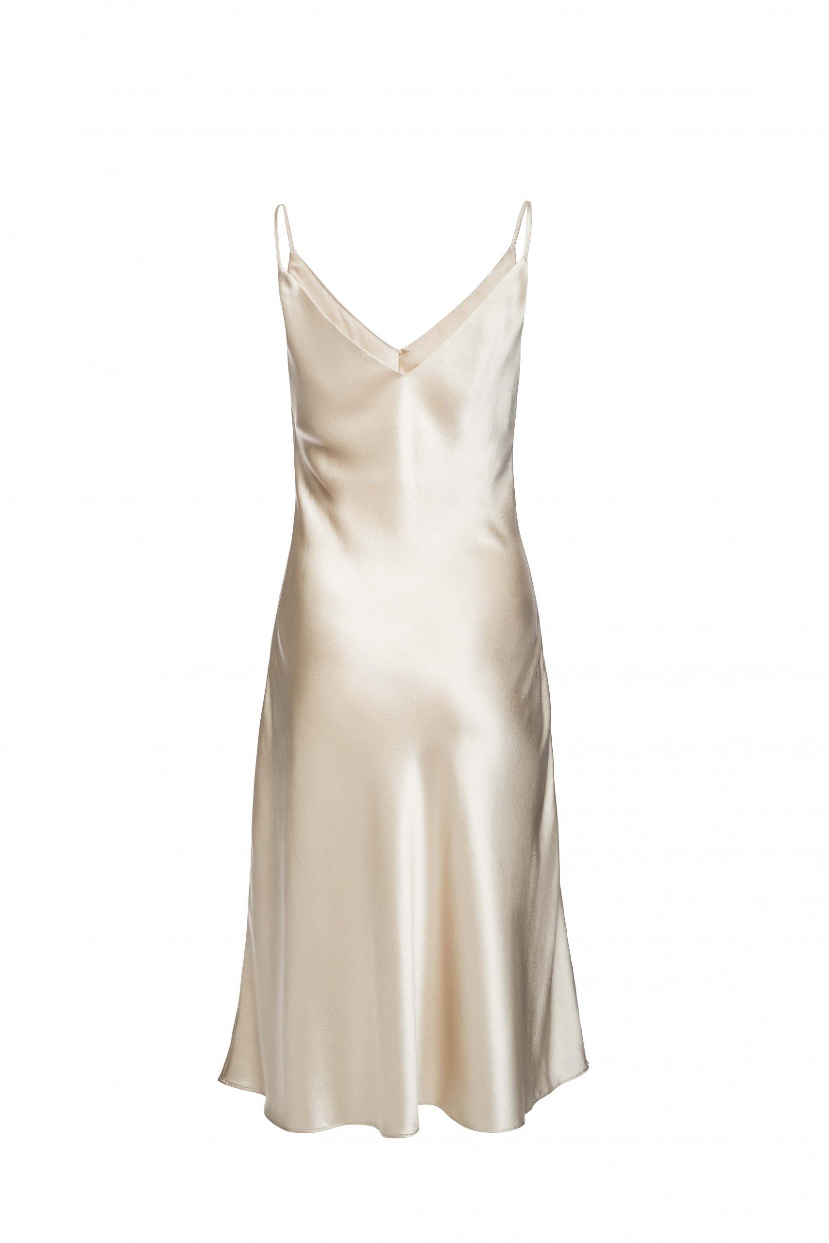 Jedwabna Sukienka Midi Champagne