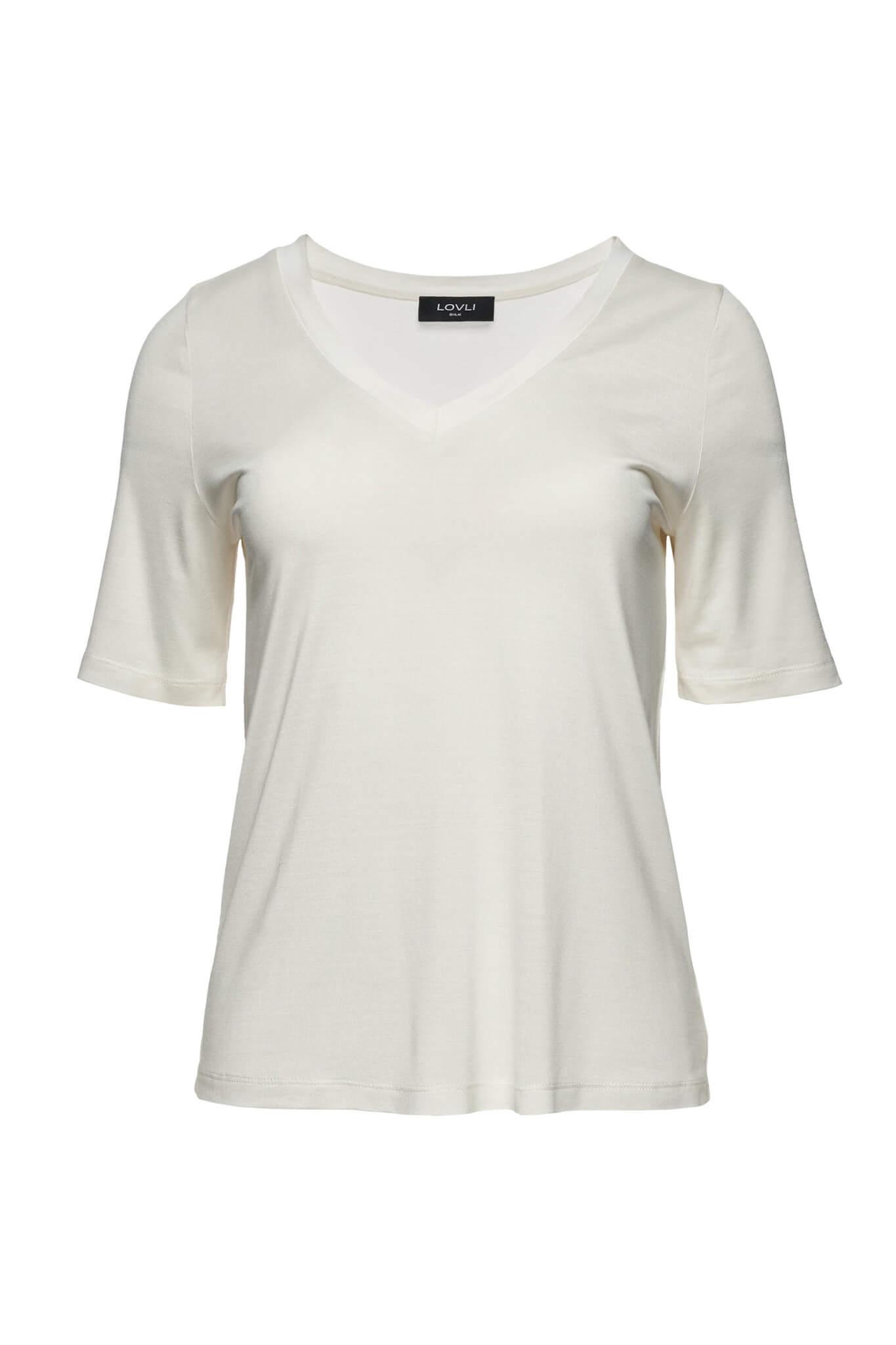 Jedwabny T-shirt V ecru