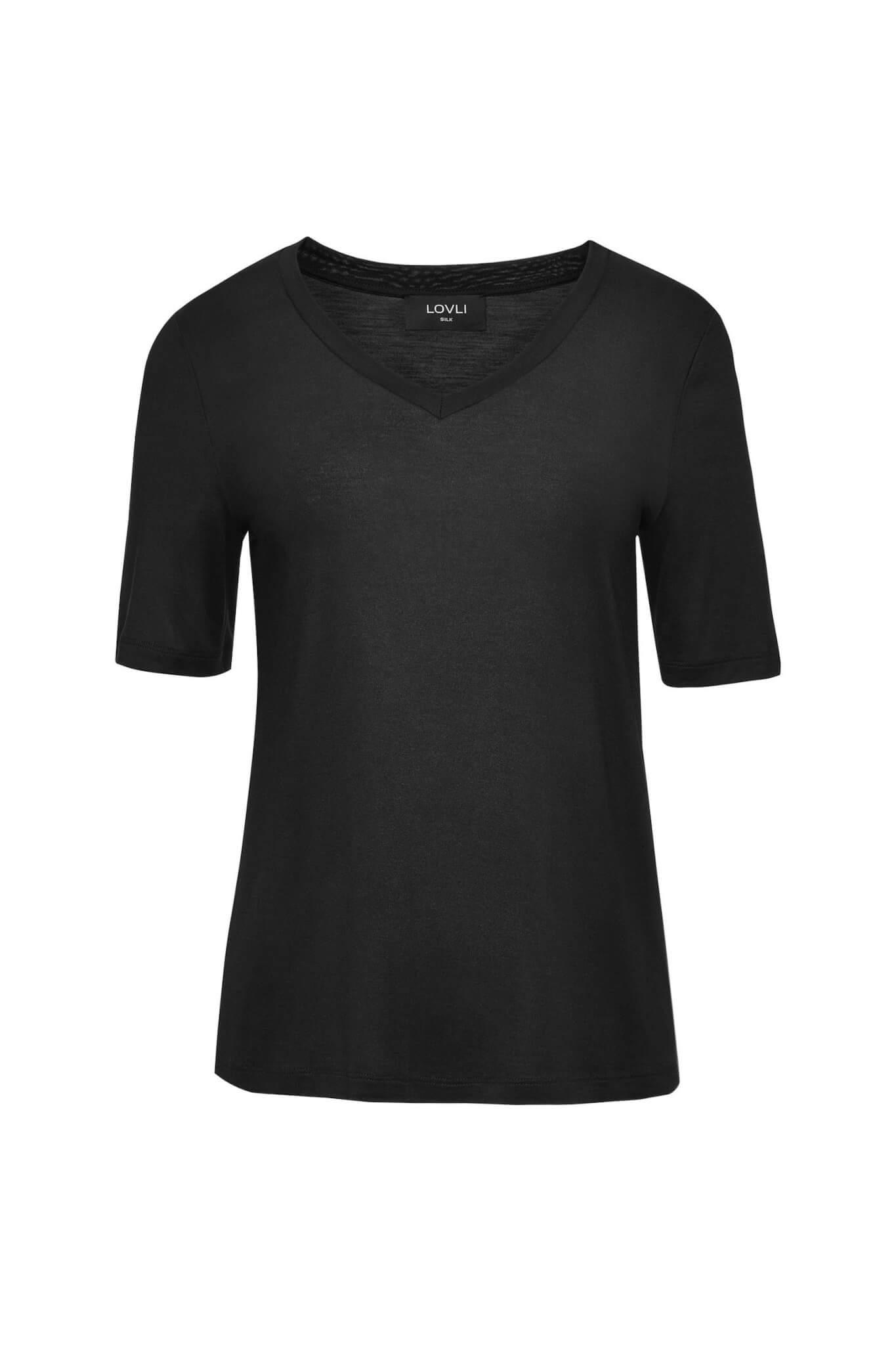 Jedwabny T-shirt V czarny