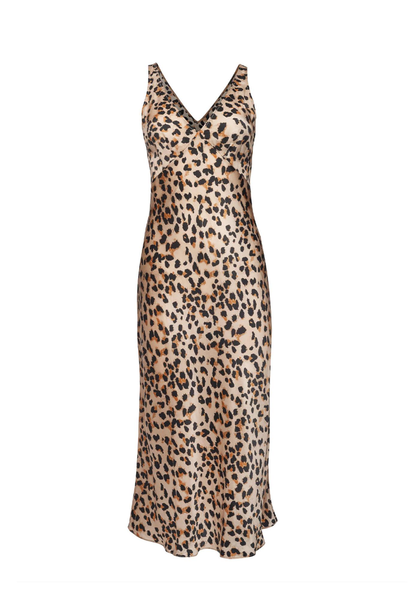 Silk Midi Dress in animal print