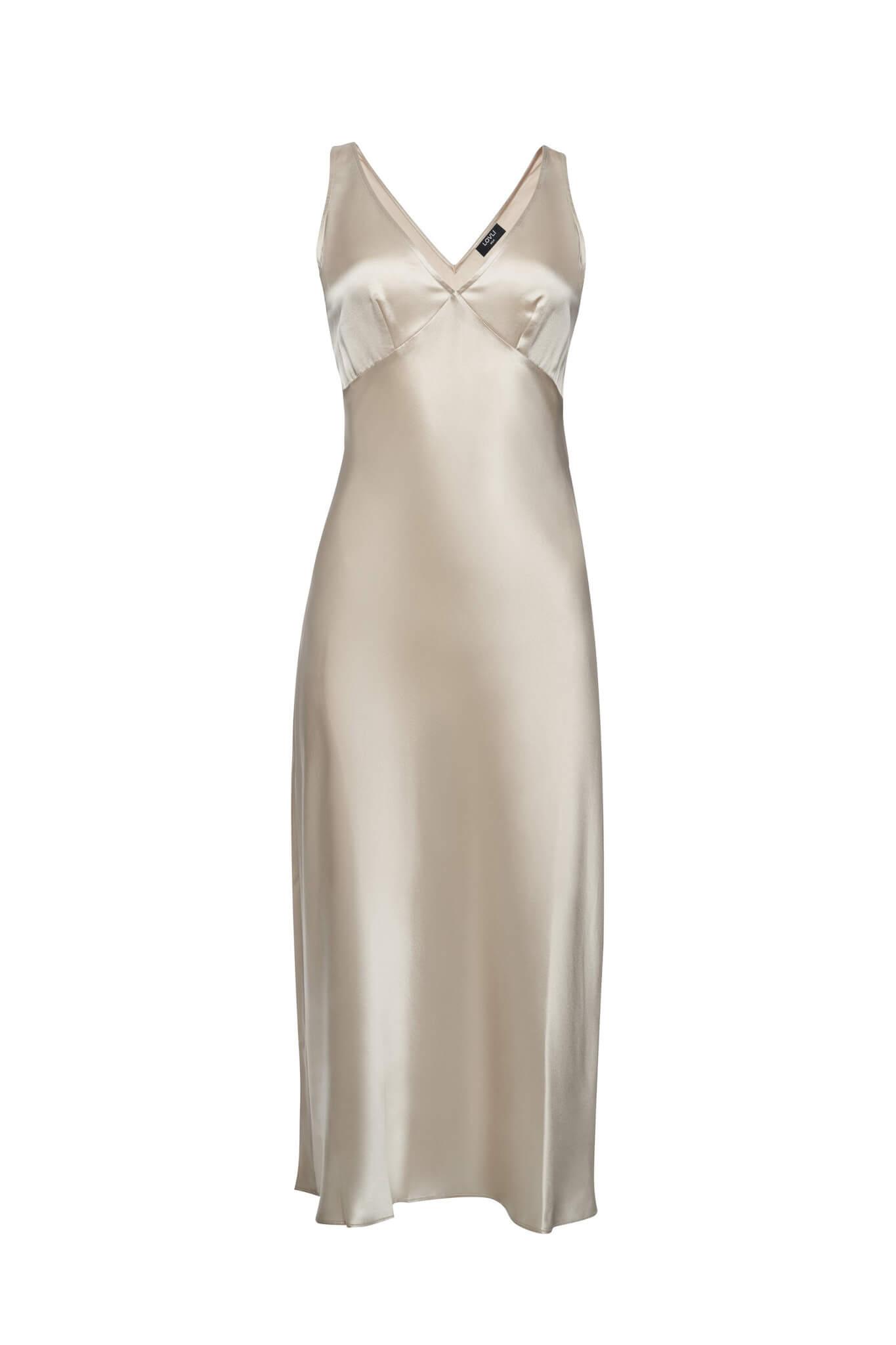 Silk Midi Dress in champagne