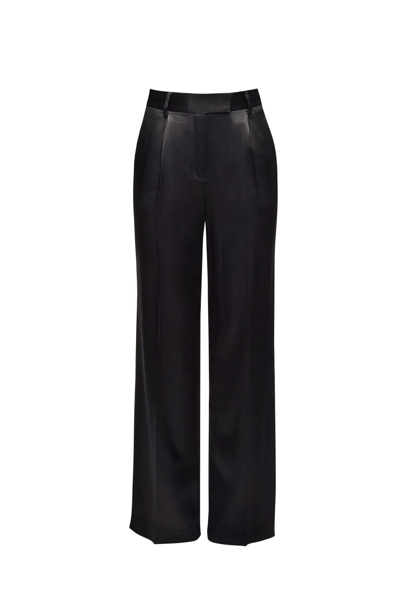 Jedwabne spodnie garniturowe czarne