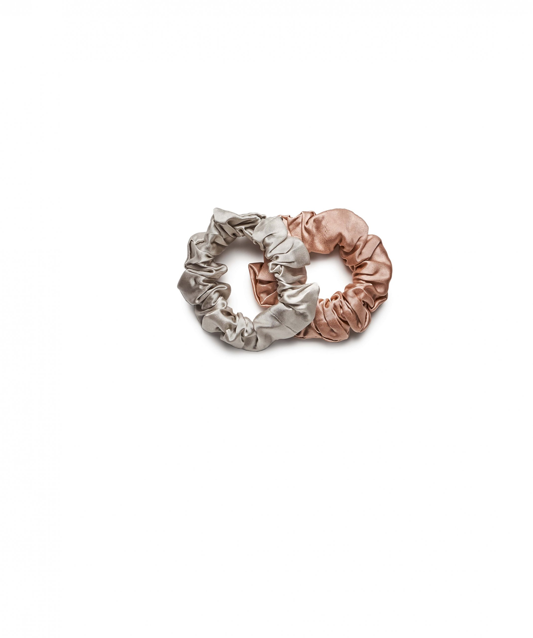 Jedwabny zestaw gumek do włosów nude & silver