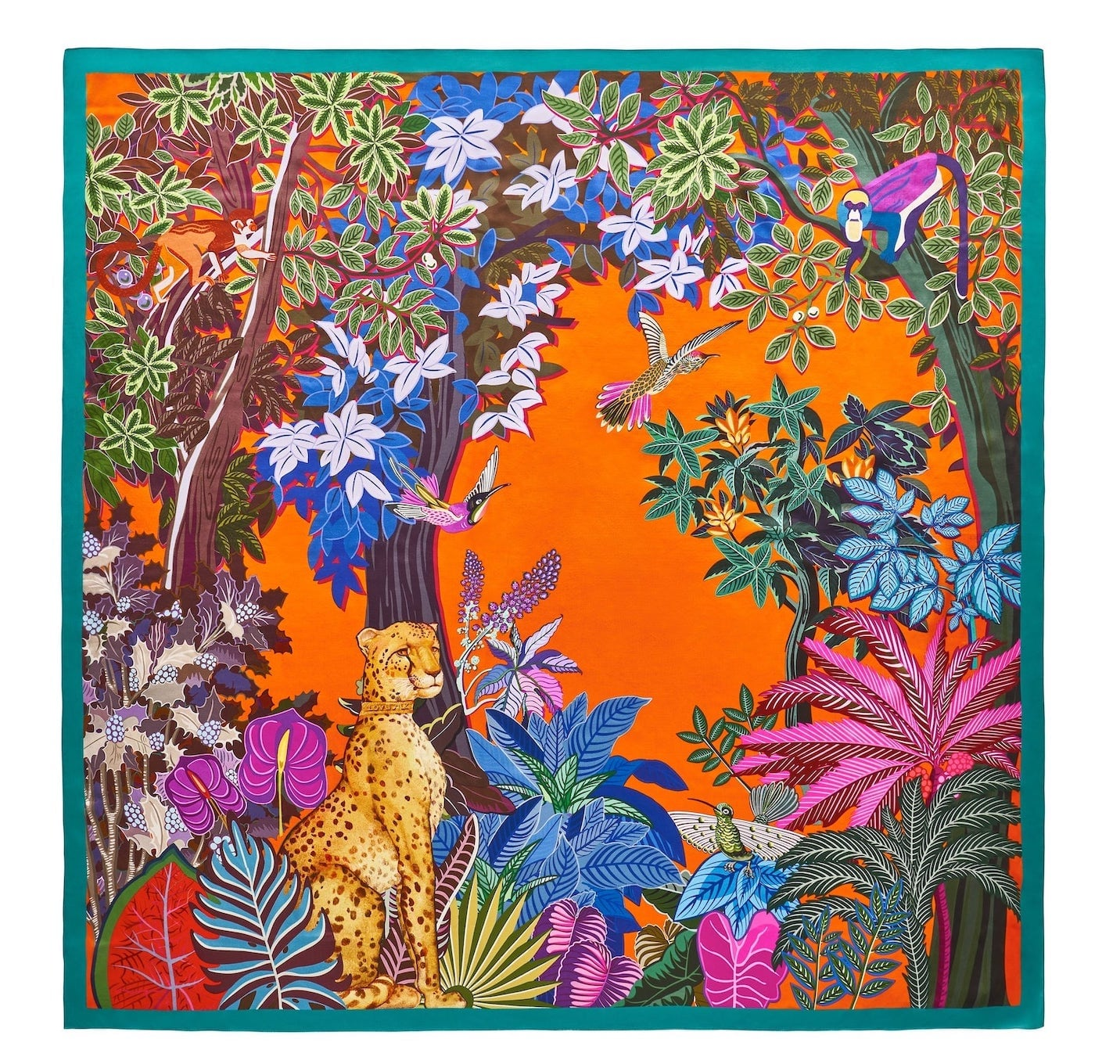 Jedwabna chusta gepard 90×90 cm