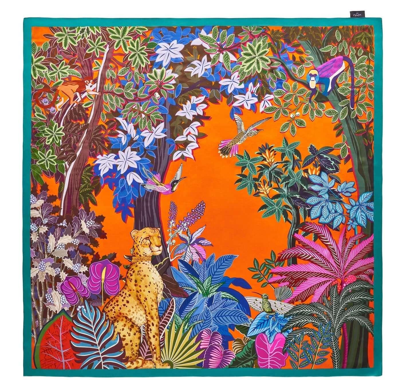Jedwabna chusta gepard 135×135 cm