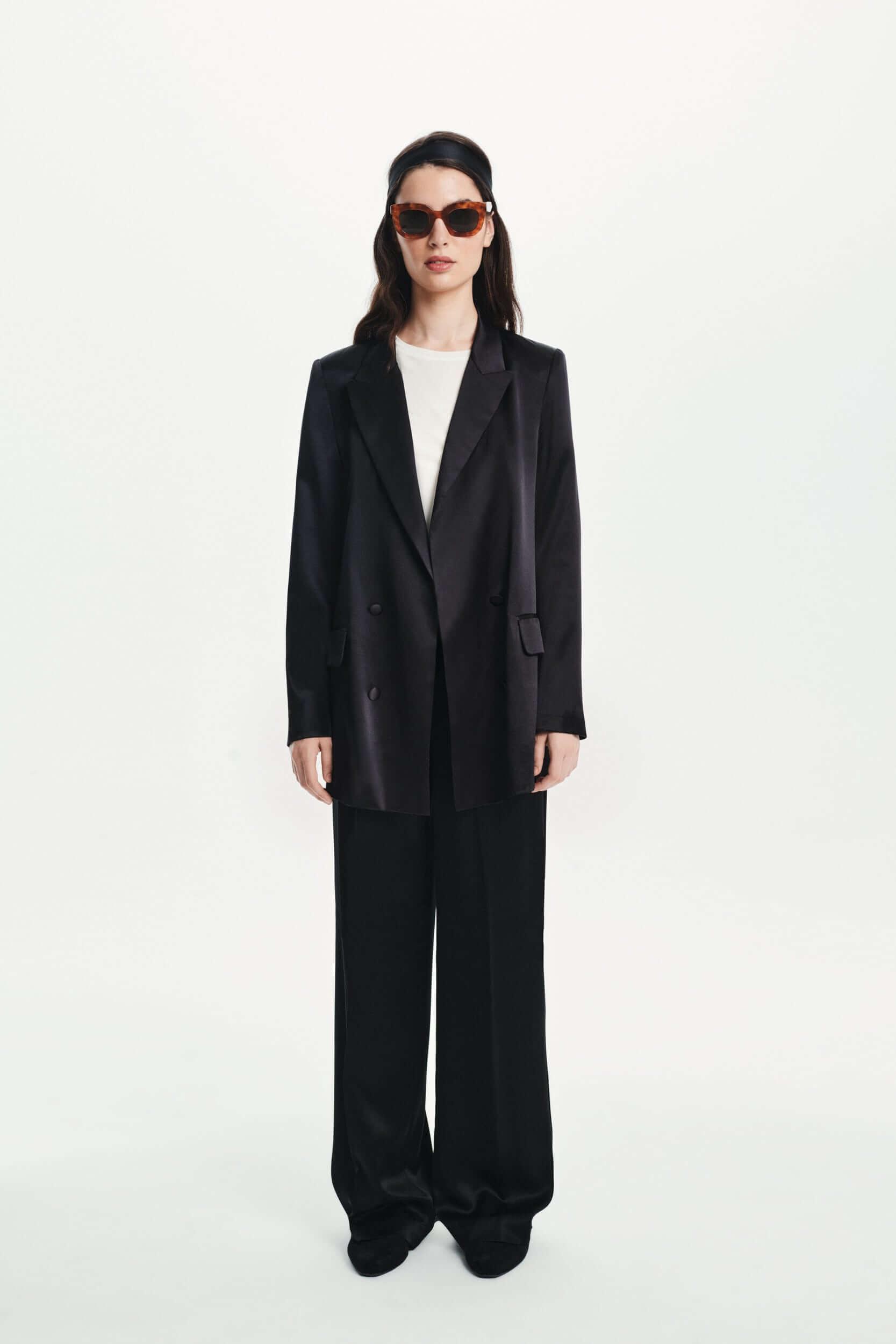 Silk Suit Trousers in black