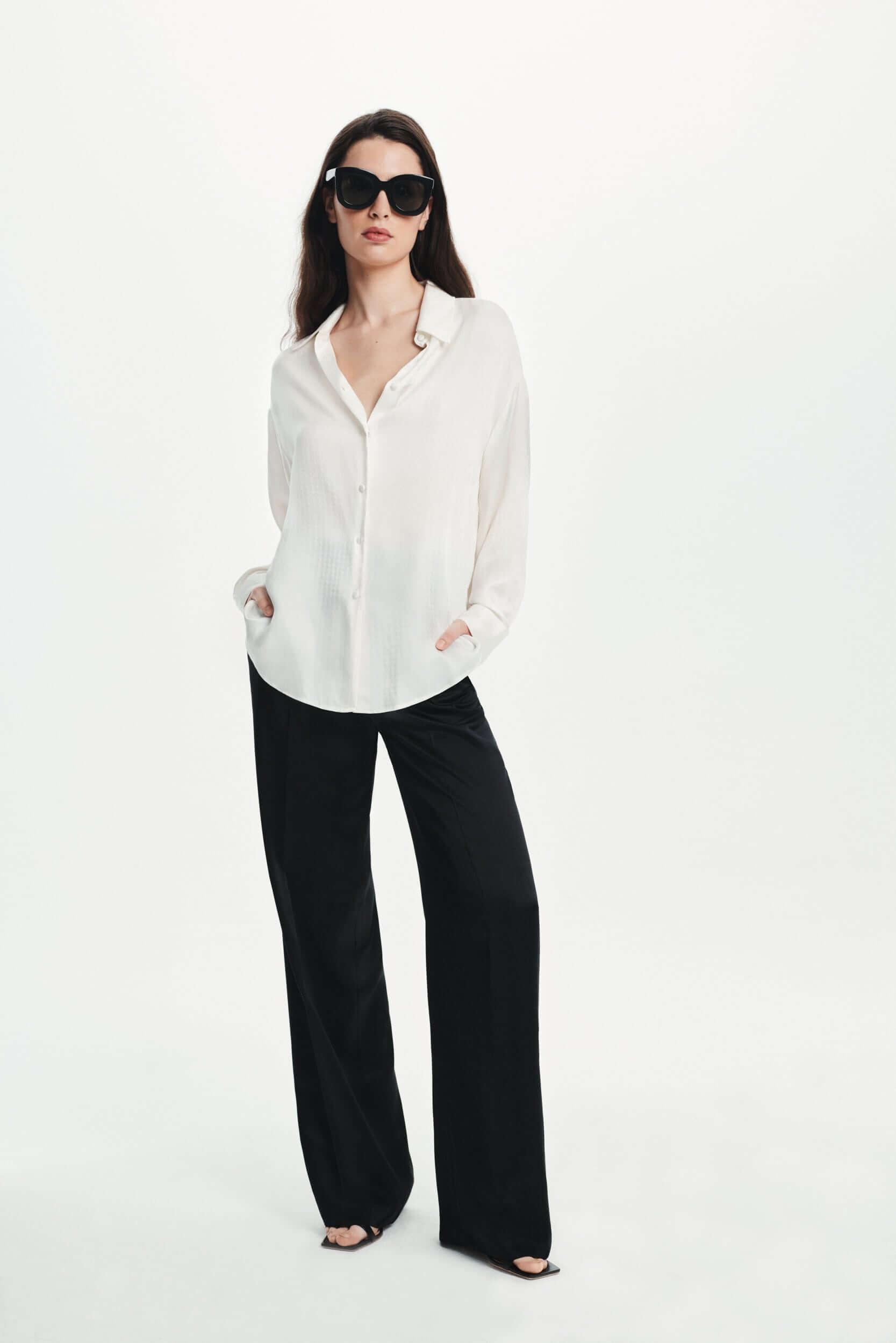 Oversize Silk Shirt in ecru